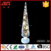 Yangzhou lighted glass christmas tree with ratton inside
