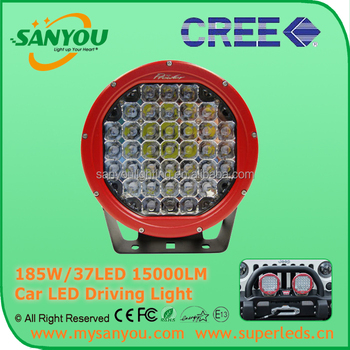 185W 9Iinch spot / flood beam auto work light, 15000lm 6000K round Jeep Offroad LED driving light