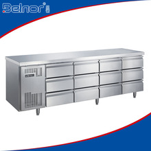 TC0.6N12W Under counter Fridges/ Under counter Bar Fridge/ Stainless Steel Refrigerator with 12 Drawers
