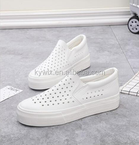 Hot Sale Lady White Vulcanized Rubber Sole PU Low Cut Casual Shoes
