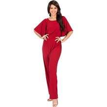 Factory chiffon high waist red jumpsuits for women Off shoulder fitness sexy women jumpsuits