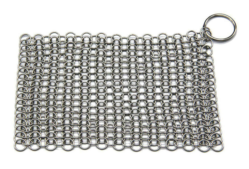 Stainless Steel Chainmail Scrubber Cast Iron Chainmail Pot Cleaner