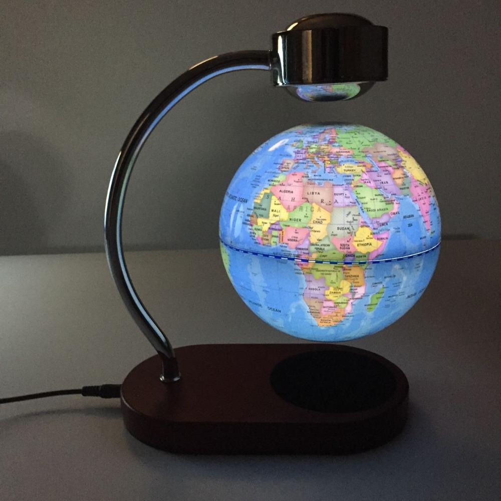 Newest design Magnetic levitation globe with touch light roating globe with wooden base