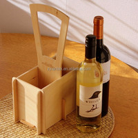 Custom unfinished cheap plywood wine carrier 2 bottles carrier wood wine tote