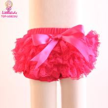 Cheap Wholesale Baby Girl Todder Panty Solid Hot Pink Diaper Cover Cotton Waist Lace Ruffle Mesh Bloomers For NB-6Y