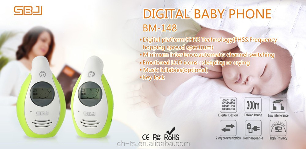 300m range digital transmission belt clip music two way talk intercom audio baby monitor