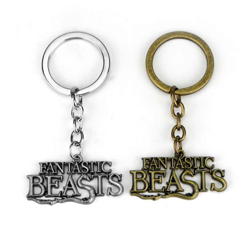 New Trendy Jewelry Fantastic Beasts Keychain And Where to Find Them Keyring Letter Logo Metal Keyring Gifts