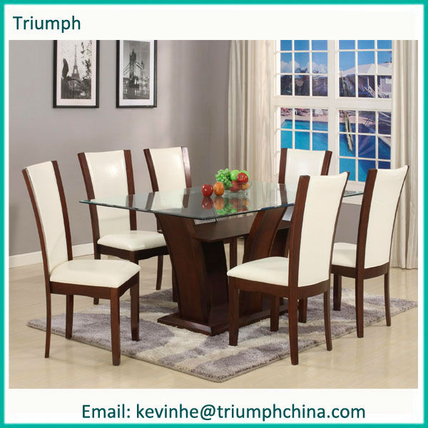 2013 new style stainless steel temperd glass with 6 chair dining table