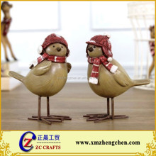 Creative arts and crafts winter christmas birds with hat ornaments resin home decoration