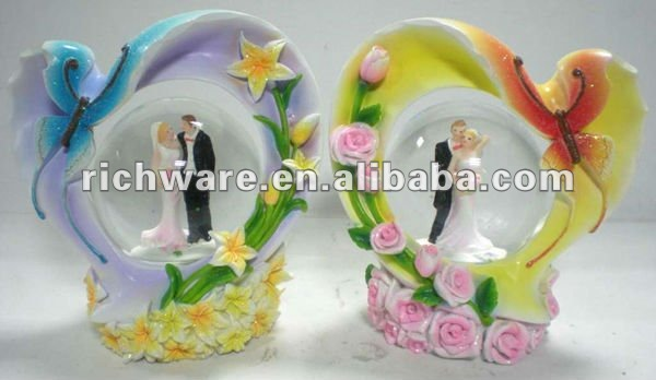 butterfly polyresin wedding water globe