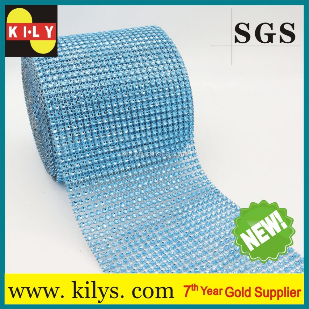 2017New Lt.blue 24 Row Diamond crystal Ribbon Trim Wrap Rhinestone Mesh