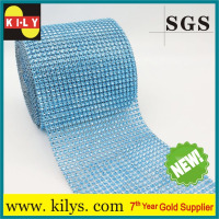 Lt.blue 24 Row Diamond crystal Ribbon Trim Wrap Mesh Banding
