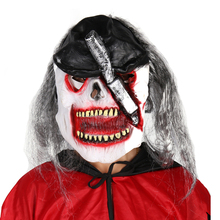 Excellent quality halloween crazy scary face long hair party mask