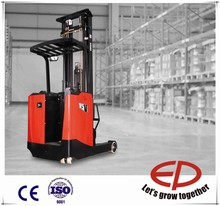 EP 1.5 Ton efficient electric stand-on reach truck CQD15S-E for broader view in narrow aisles