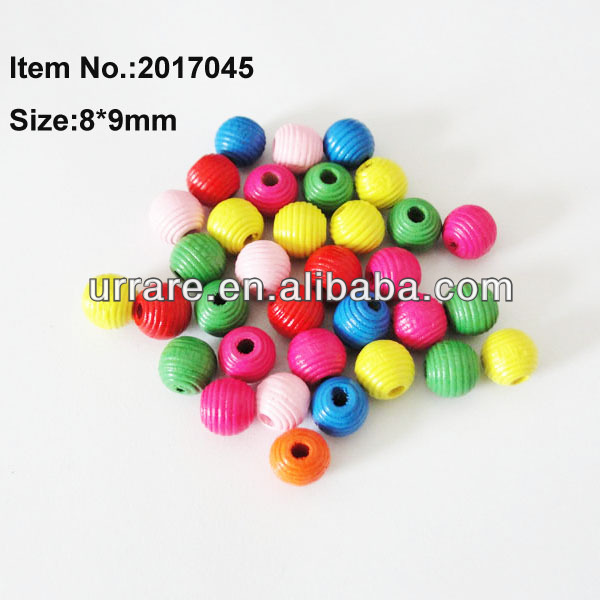 8mm Round Swirling Colorful Wooden Bead