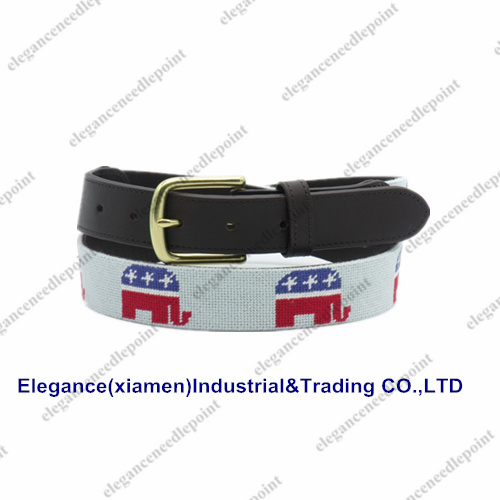 Embroid Belts Elephant Needlepoint Belts With Solid Brass Buckle For Men