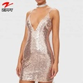 Deep V Neck Backless Gold Sequin Mini Dresses