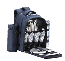4 Person Blue Picnic Backpack Bag With Cooler Compartment