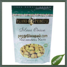 Matt finished plastic stand up food bags, resealable 10oz Macadamia nuts packaging bags