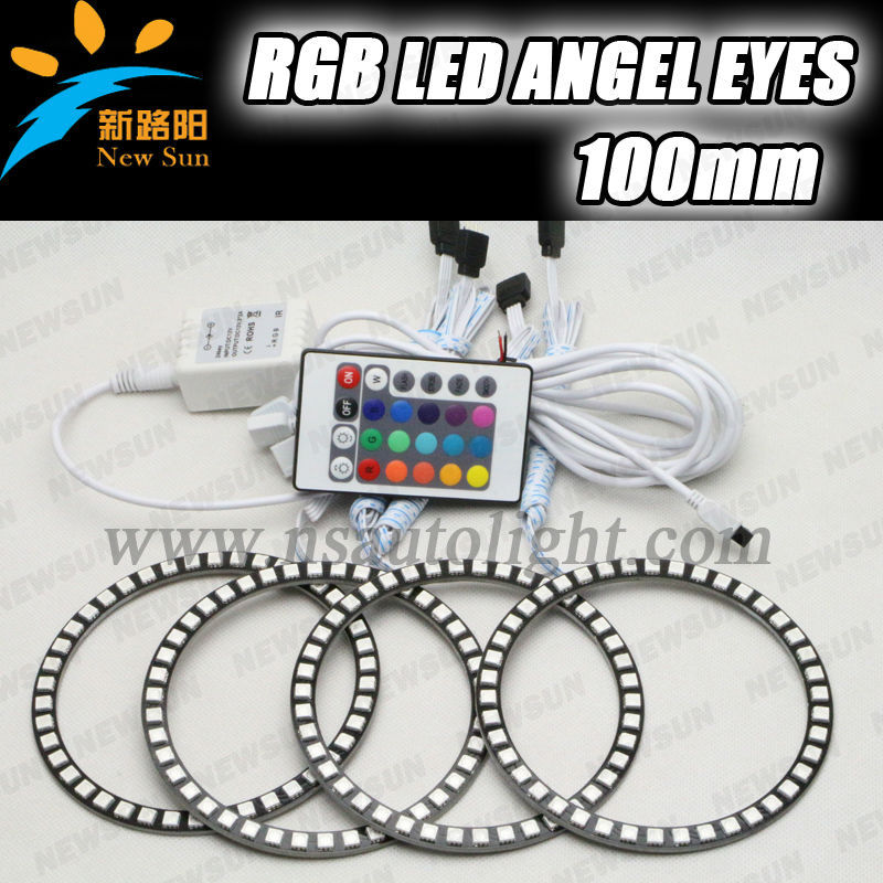 36pcs 5050SMD 4rings 100mm led rgb angel eyes 12v multicolor led ring lights for Opel for Toyota car headlight angel eyes