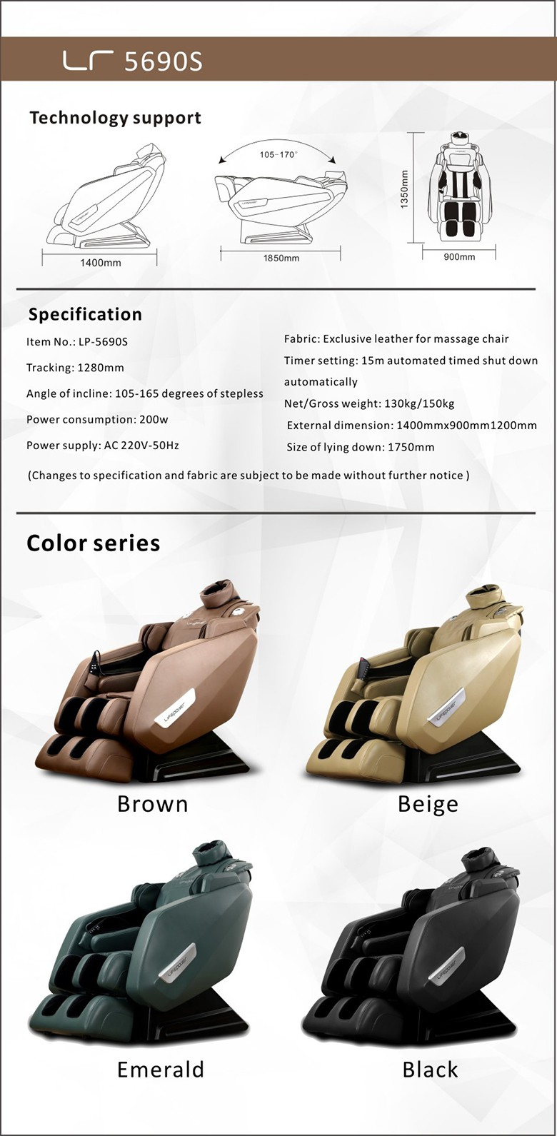 New 2016 L-shaped 3D zero-gravity massage chair with cheap price