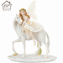 wholesale resin angels figurines sitting on a white horse