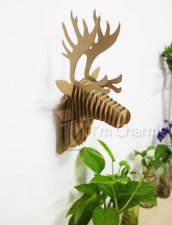 Diy Paper Puzzle Home Made Decoration Cardboard Deer Head Wall
