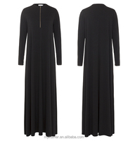 Abaya models dubai Muslim clothing black abaya with zipper with a simple outerwear garment fashion design muslim women clothing