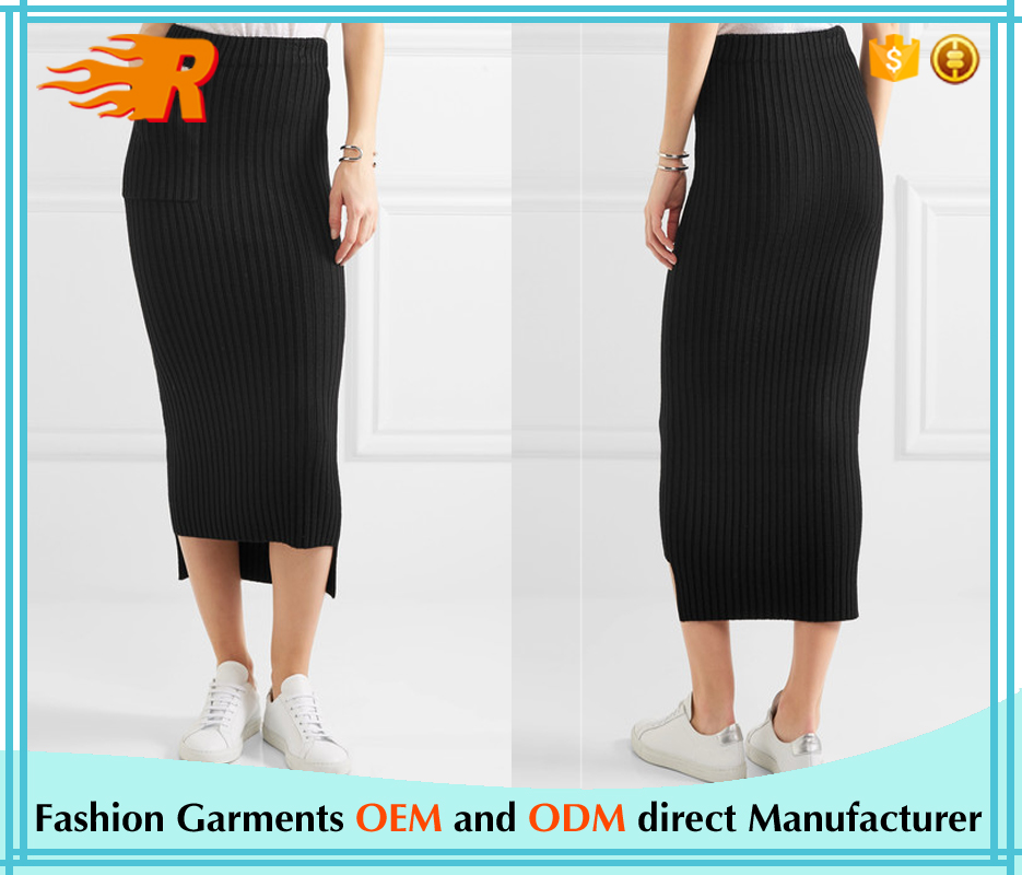 Whole Customized Distressed Ribbed-Knit Midi Skirt
