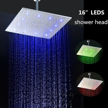 led rain shower head 16 inches square brushed 304SUS led rain shower head