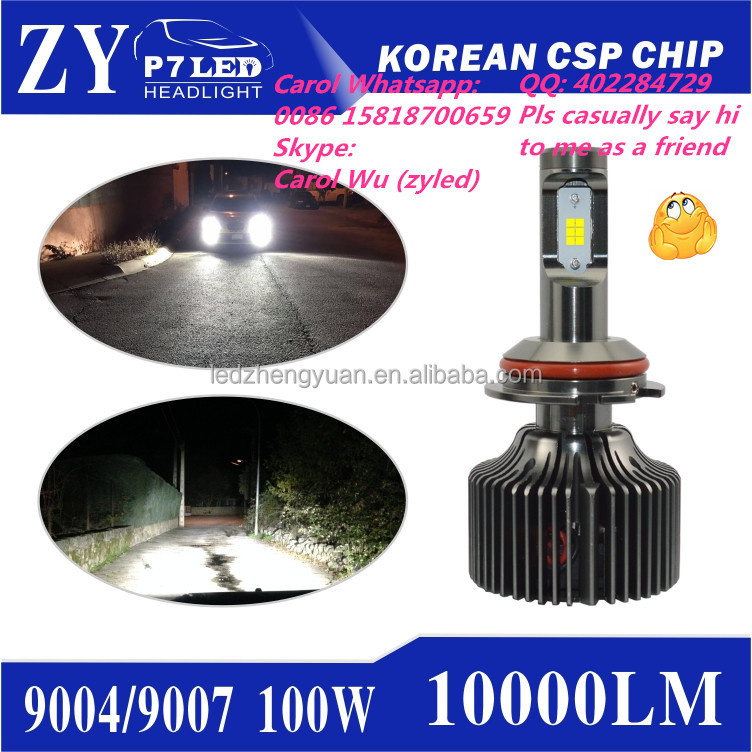 zy led headlight xenon hid led for car vs cr ee h7 h4 xhp70 9007 9004