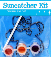 three color suncatcher paint set, DIY Paint Set for Kids, Acrylic Paint Suncatcher Painting