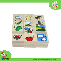 BSCI Wooden Hiragana Alphabet Puzzle Blocks Jigsaw Animal Fruit Learning Toys for Kids