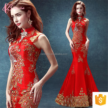 Light Red Lace Sleeve Factory Tortoise Color Coral Evening Dress