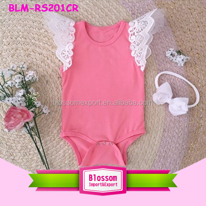 Girls Angel Wings Bodysuit Baby Flutter Sleeve Romper White Lace Flutter Onesie