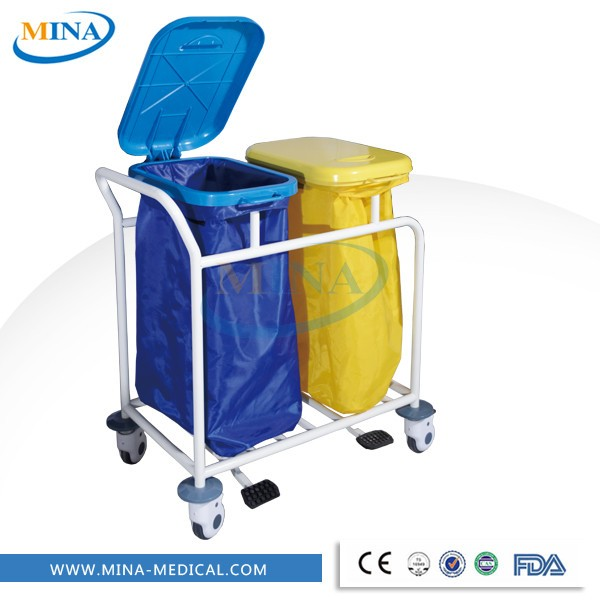 MINA-LT02 Medical Hospital Soiled Linen Laundry Trolley with 2 cleaning bags