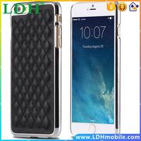 Christmas Deal Slim Grid Pattern Leather Back Case For Iphone 6 6S 4.7inch Thread Decoration Hard Plastic Frame Strong Cover Bag