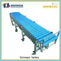 Gravity flexible mobile double roller conveyors for warehouse