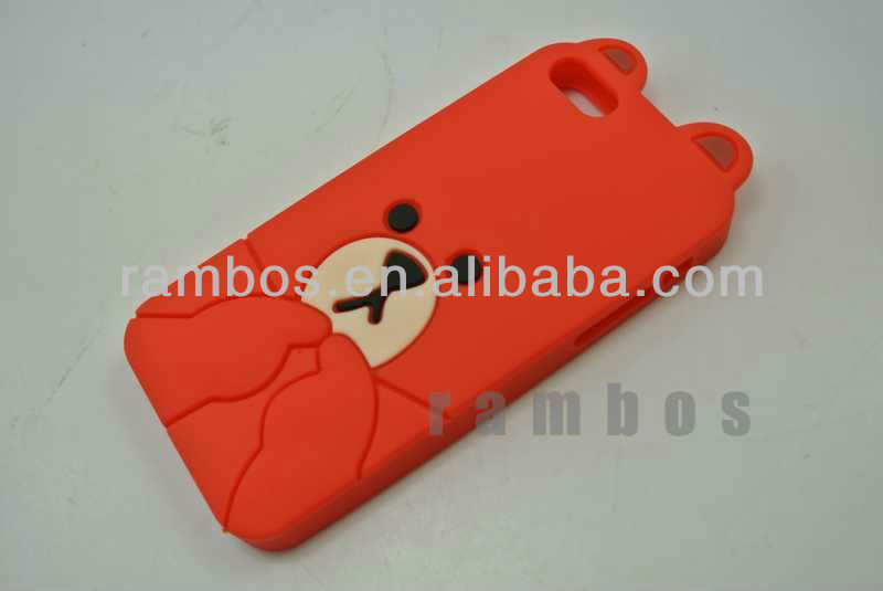 For iPhone 5c 3D Cute Bear Soft Silicone Back Case Cover.
