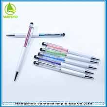 Crystal filled souvenirs metal ball pen for wedding gift