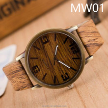 2016 Hot In Stock Mixed Color Retro Cheap Wooden Watches Wood Women Men Wristwatch Brown Leather Analog Quartz Clock OEM watch