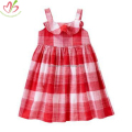 Red Plain Gingham Children One Piece Dress
