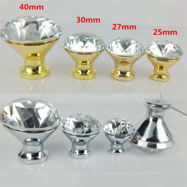 Cheap price different colors crystal knobs/Crystal Furniture Kitchen Cabinet crystal handle for cabinet