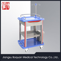 One drawer plastic-steel columns with a plate for loading one dust basket ABS treatment trolley