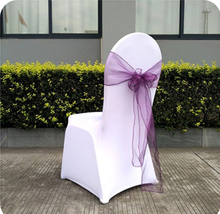 Purple Organza Chair Sash For Weddings/Banquet