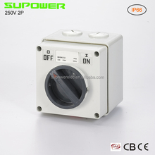 250V 2P 32A Electrical Weatherproof Isolator Switch types