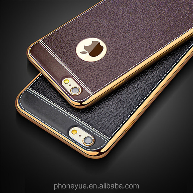 Ultra Thin Plating Gold Frame Leather Pattern Soft TPU Silicone Back Cover Phone Case for iPhone 5/6/7