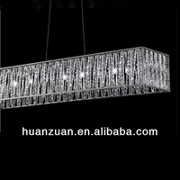 decorative crystal channel pendant lamp with metal frame outside