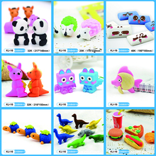 Custom cheap price cute 3d animal shaped rubber erasers for school kids toy