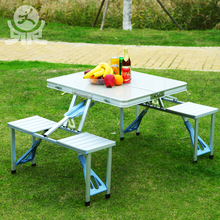 Portable outdoor garden furniture camping picnic aluminum metal briefcase suitcase foldable folding table and chair